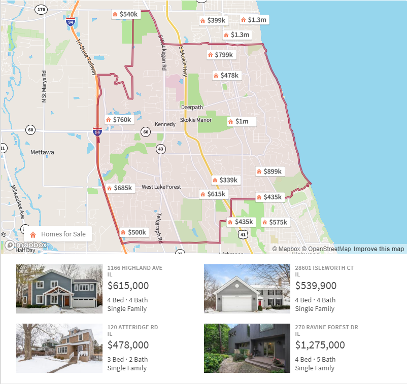 ranch homes for sale lake forest il